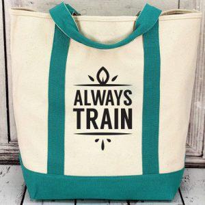 กระเป๋าผ้าแคนวาสตามแบรนด์สีเขียว